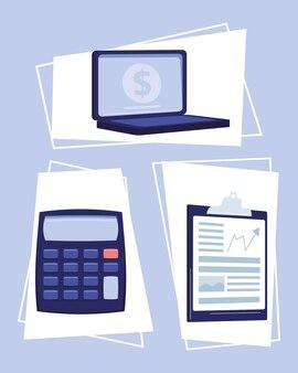 Financiële diensten drie pictogrammen