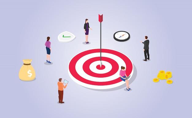 Financiële doelstelling met grote dart en geld met teamwerkmensen met isometrische moderne vlakke stijl