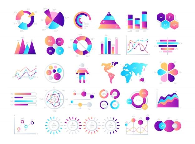 Financiële en marketinggrafieken. zakelijke gegevens grafieken. illustratie van gegevens financiële grafiek en diagram.
