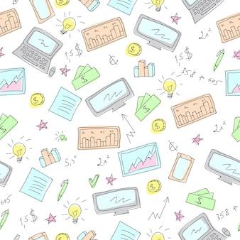Financiële en zakelijke symbolen doodles vector naadloze patroon