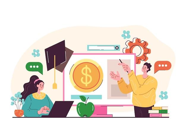 Financiële geletterdheid onderwijs e-learning professionele coaching studie tutorial grafisch ontwerp cartoon moderne stijl illustratie