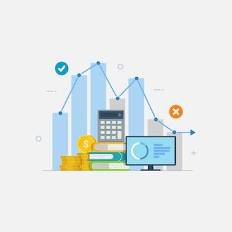 Financiële grafische prestaties statistiek inkomstenrapport bedrijf