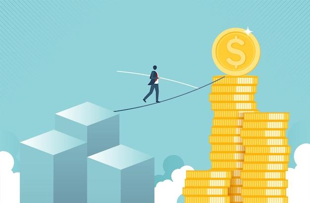 Financiële groei en risicoconcept met gouden muntconcept monetaire inzameling of strategie