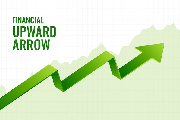 Financiële helling groei opwaartse pijl trend achtergrondontwerp