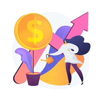 Financiële investering. markttrendsanalyse, investeren in lucratieve gebieden, gericht op winstgevende projecten. zakenvrouw financiering zakelijk project. vector geïsoleerde concept metafoor illustratie