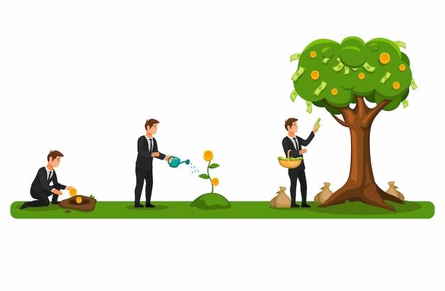Financiële investering toekomstplan zakenman drenken en oogsten geldboom concept in cartoon