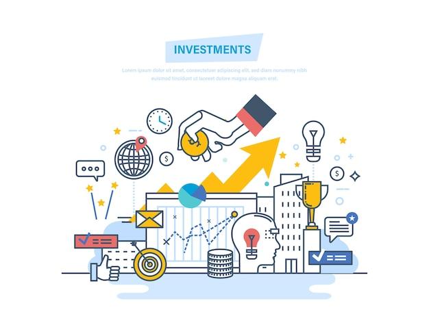 Financiële investeringen, marketing, analyse, beveiliging van deposito's, garantie van financiële besparingen dunne lijn