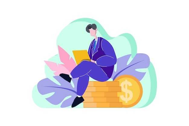 Financiële kantoormedewerker zit op munt