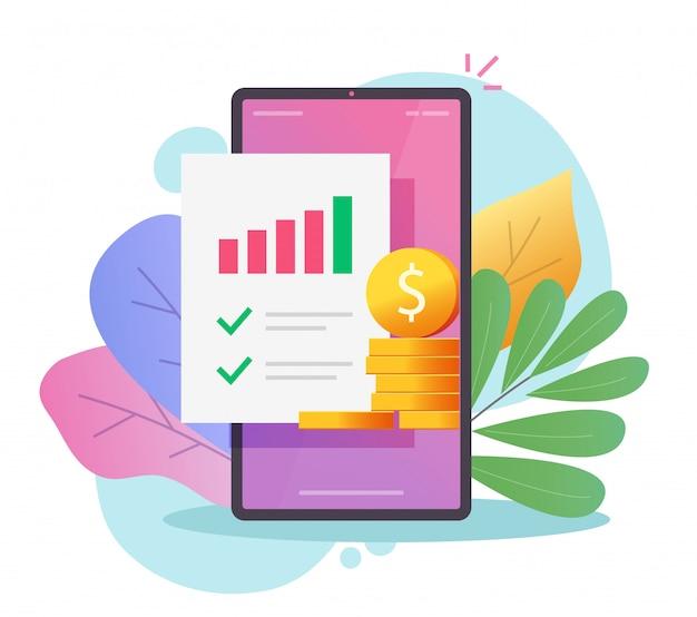 Financiële marketing businessplan en audit onderzoeksrapport of analyse geld inkomen verkoopgegevens evaluatie platte cartoon