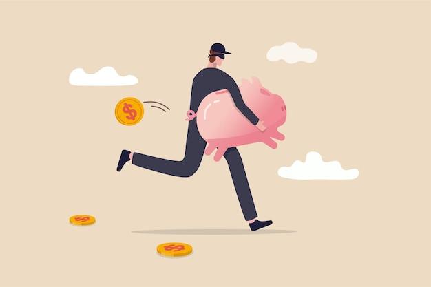 Financiële misdaad, het stelen van de illustratie van het geldconcept