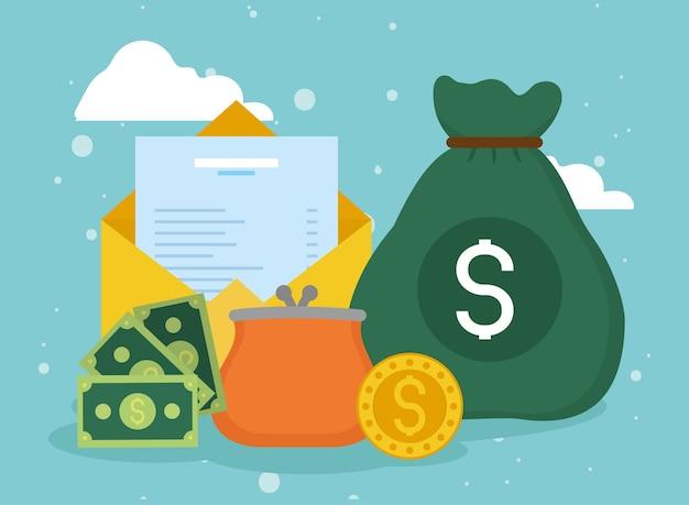 Financiële pictogrammen voor portemonnee en tas