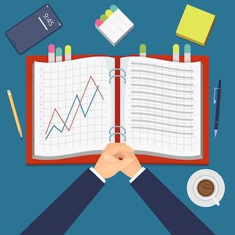 Financiële prestatie. werkdagboek met grafieken bovenaanzicht, investeringsproject. zakenman aan het werk vectorillustratie. tafelwerk met koffie en boekgrafiek financieel