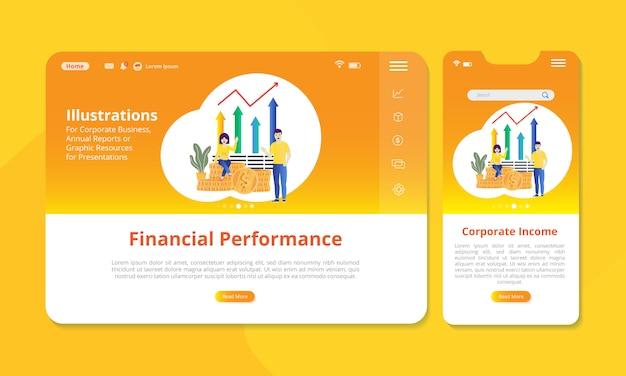 Financiële prestatiesillustratie op het scherm voor web of mobiele vertoning.