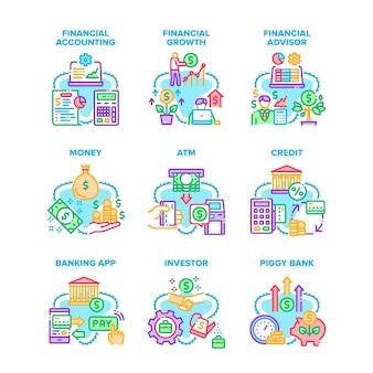 Financiële rekening instellen pictogrammen vectorillustraties. financiële boekhouding en adviseur, winstgroei en geld krijgen van atm-machine, krediet en investeerder, spaarvarken en app-kleurillustraties