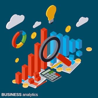 Financiële statistieken vlakke isometrische vector concept illustratie