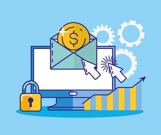 Financiële technologie met bureaubladpictogram