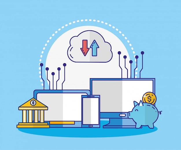 Financiële technologie met elektronische apparaten