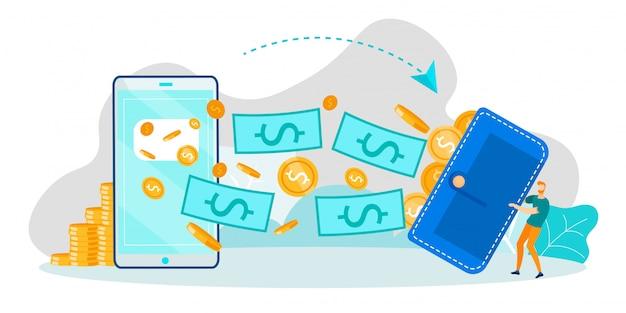 Financiële transactie en mobiel bankieren op telefoon