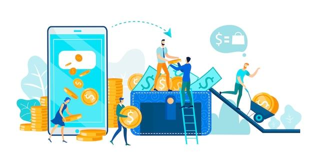 Financiële transactie, mobiel bankieren op telefoon