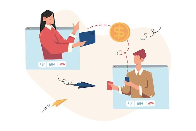 Financiële transacties, niet-contante betalingstransacties, valuta, munten, nfc-betaling
