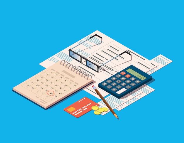 Financiële verrichtingen pictogram omvatten facturen, rekenmachine, kalender en creditcard
