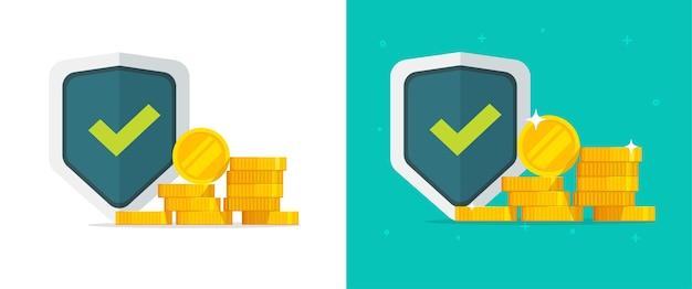 Financiële verzekering garandeert geld gouden beschermingsset, geldinvestering veilig veiligheidsschild