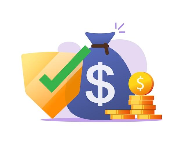 Financiële verzekering geldbeschermingsgaranties, contante veilige investering, besparingen veiligheidscontrole vlakke afbeelding