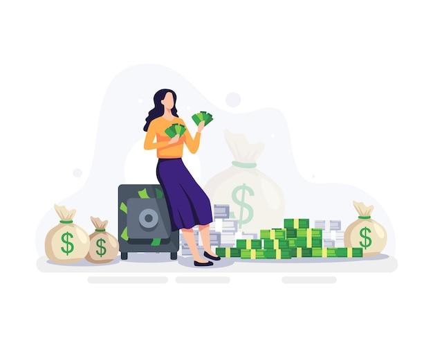 Financiële vrijheid concept illustratie. jonge vrouw met geld in haar hand met kluis en stapels geld eromheen. vector in een vlakke stijl