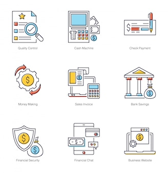 Financiële zekerheid plat pictogrammen pack