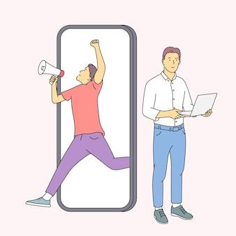 Financiën, analyse, teamwerkconcept. twee mannen zakenpartners werknemers cartoon analyseren financiële gegevens en marketing informatiestatistieken samen