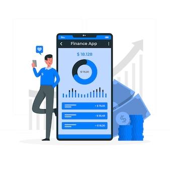 Financiën app concept illustratie