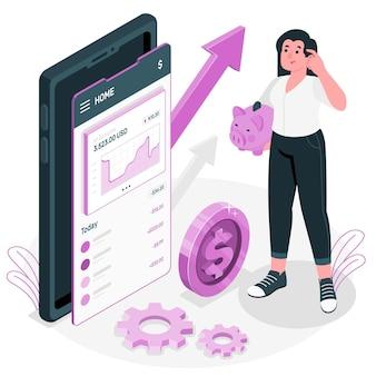 Financiën app concept illustratie Gratis Vector