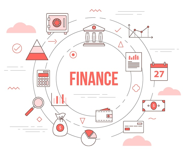 Financiën bedrijfsconcept met illustratie ingesteld sjabloon met moderne oranje kleurstijl
