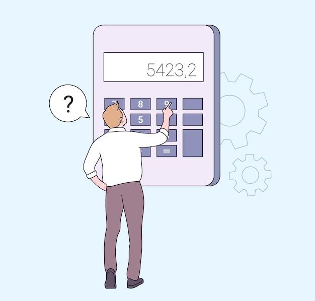 Financiën, berekeningen en economieconcept. mannelijke professional met rekenmachine voor wiskundige bewerkingen, budget, analyse, gegevens, inkomen, financiën.