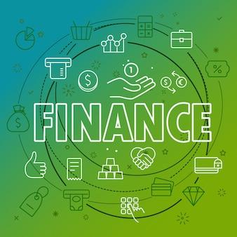 Financiën concept. verschillende dunne lijnpictogrammen inbegrepen