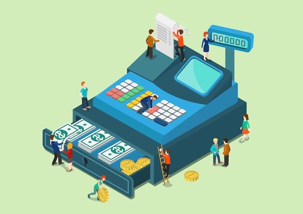Financiën detailhandel monetair concept kleine mensen op grote oversized kassa machine isometrische illustratie