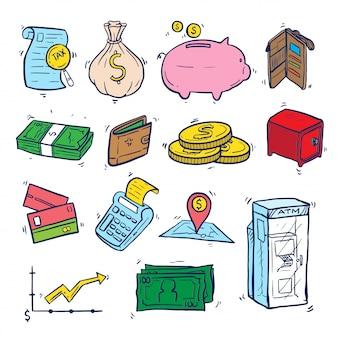 Financiën doodle kunst ingesteld op geïsoleerd