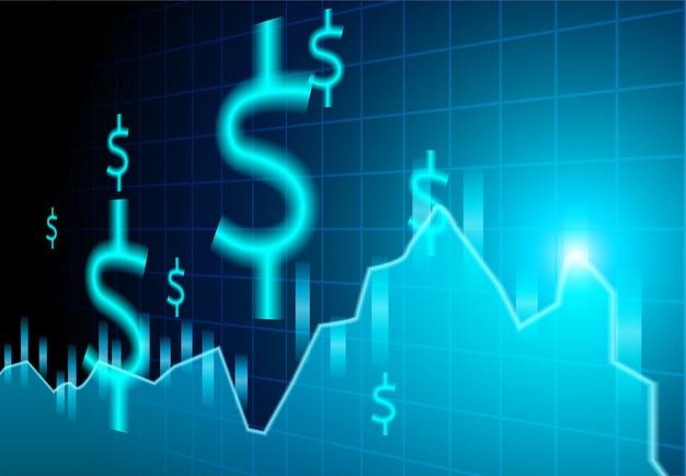 Financiën effectenbeurs. dollartekens op blauwe achtergrond.