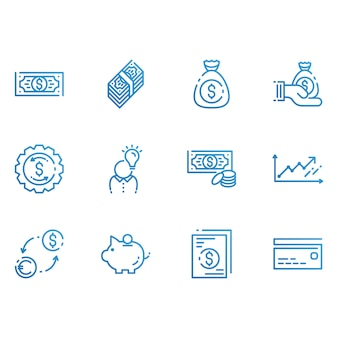Financiën en geld pictogrammen