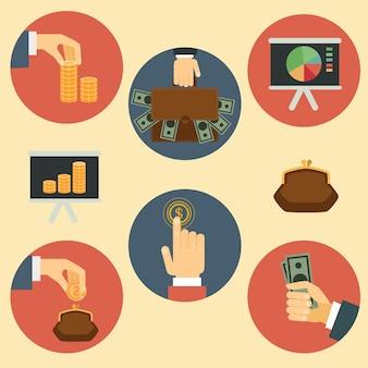 Financiën, geld en analyse platte retro illustraties