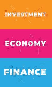 Financiën investeringseconomie op blauw oranje roze achtergrond conceptuele visualisatie woorden vector