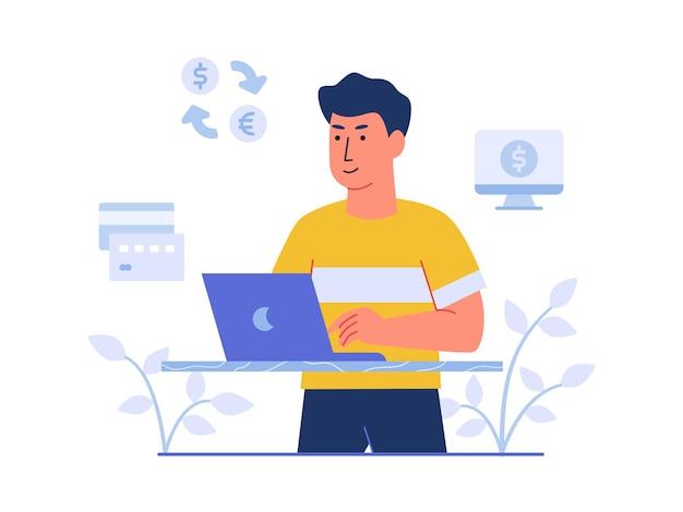 Financiën karakter man aan het werk op laptop achtergrond van creditcard computer