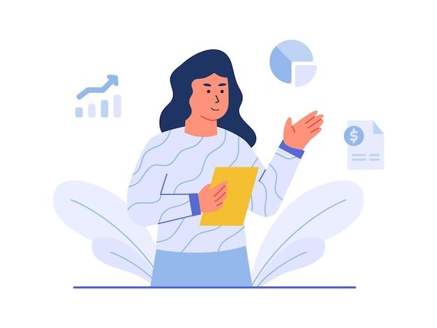 Financiën karakter vrouwen houden papieren achtergrond van cirkeldiagram staafdiagram factuur