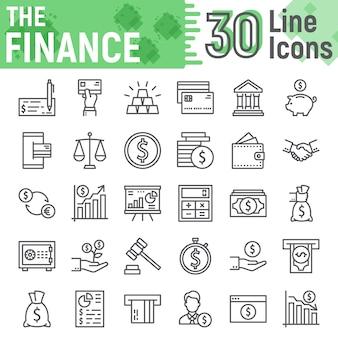 Financiën lijn pictogrammenset, bank symbolen collectie,
