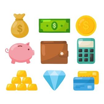 Financiën pictogrammen instellen. zakelijke en bankeconomie betaling, geldbesparing