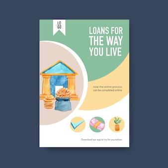 Financiën posterontwerp voor bankieren, zaken en valuta aquarel illustratie