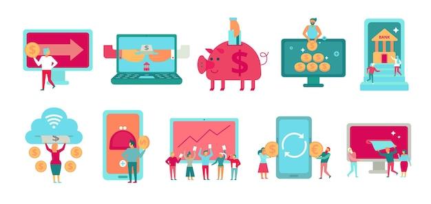 Financiën set van plat pictogrammen met internetbankieren