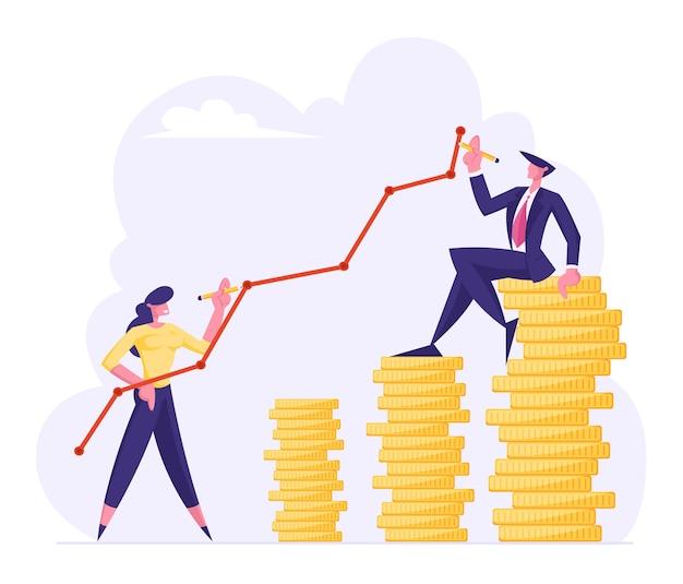 Financiën succes, geld rijkdom groeiende concept vlakke afbeelding