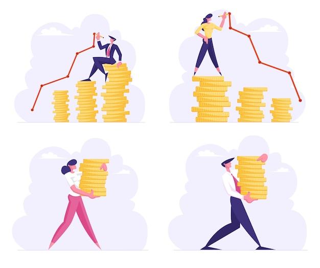 Financiën succes, geld rijkdom groeiende set