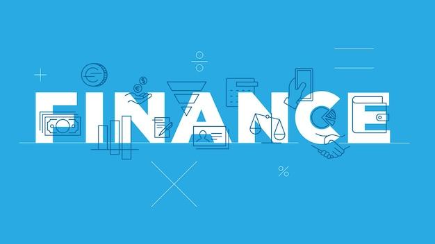 Financiën woord concept dunne lijn pictogrammenset platte ontwerp banners voor website mobiele moderne vector